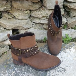 🌹GUESS Sabra Brown Bedazzled Ankle Moto Boots 9.5